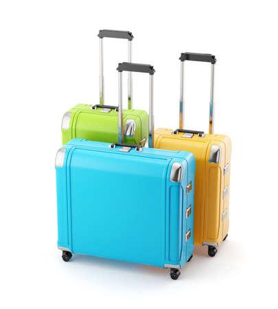 旅行バッグ スーツケース ハンドルを白い背景で隔離のカラフルなセット。3 d レンダリング図