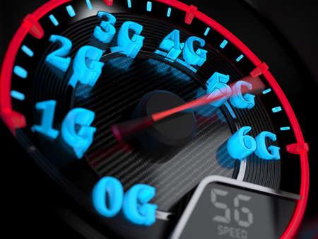 ワイヤレス ネットワーク速度の概念、速度計 5 G の進化。3 d レンダリング 写真素材
