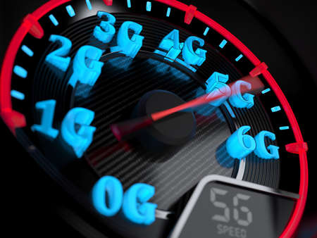 Wireless network speed concept, speedometer 5G evolution. 3d rendering
