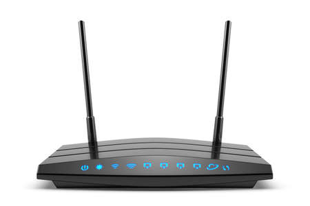 wan: 3d modern wireless wi-fi black router with two antennas and blue indicators isolated on white. High speed internet connection, firewall computer network and telecommunication technology concept Stock Photo