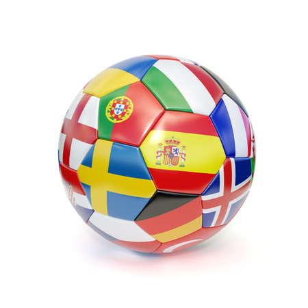 3d rendering of a soccer ball with flags from the countries participating in the euro 2016 cup