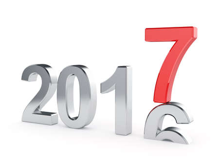 turns of the year: 3d illustration of 2017 New Year concept isolated on white background