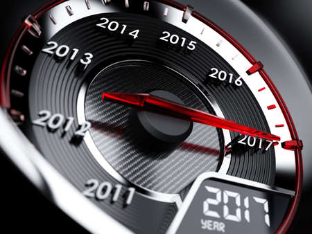 new beginning: 3d illustration of 2017 year car speedometer. Countdown concept