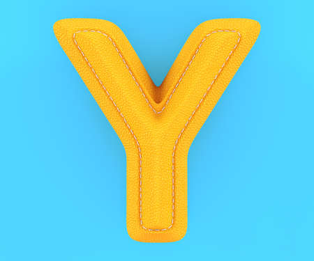 Alphabet yellow leather skin texture capital letter Y. 3d rendering illustration Stock Photo
