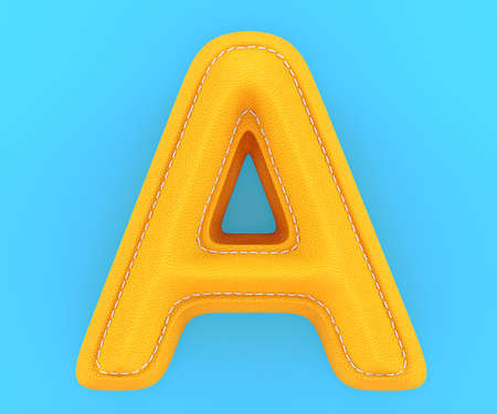 Alphabet yellow leather skin texture capital letter A. 3d rendering illustration Stock Photo