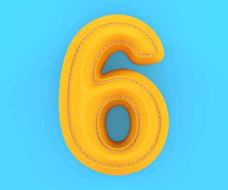 Digit number alphabet yellow leather skin texture letter six 6. 3d rendering illustration