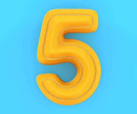 Digit number alphabet yellow leather skin texture letter five 5. 3d rendering illustration Stock Photo