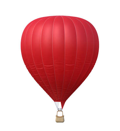 Hot air red balloon isolated on white background. 3d rendering Stock Photo