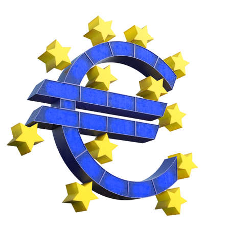 European Central Bank Symbol isolated on white background. 3d rednering