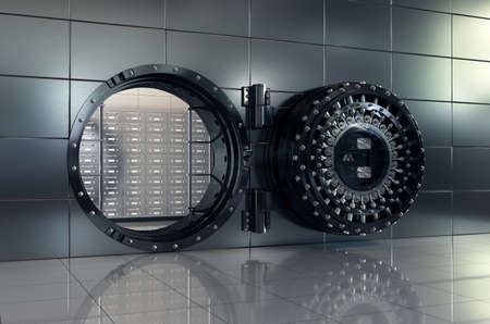 safe: 3d rendering of open bank vault door. Safety and secure business concept