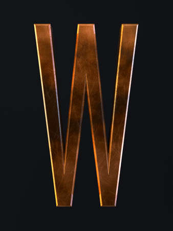 3d render of golden metal dirty rust scratch alphabet letter symbol - W. Alphabet character on the dark background Stock Photo