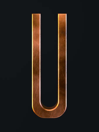 3d render of golden metal dirty rust scratch alphabet letter symbol - U. Alphabet character on the dark background