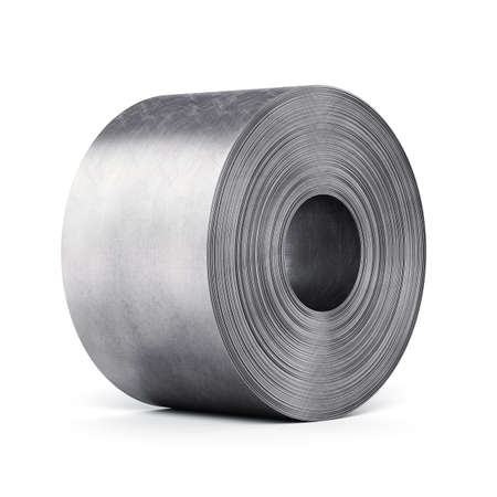 Steel sheet rolled into a roll isolated on white background. 3d rendering