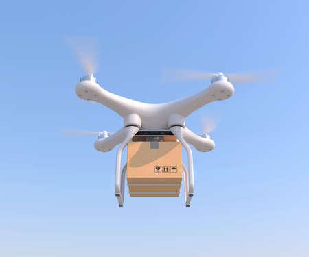 Drone quadcopter uitvoeren brievenbus vracht voor snelle levering lucht. 3D-rendering illustratie Stockfoto
