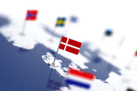 depth: Denmark flag in the focus. Europe map with countries flags. Shallow depth of field 3d illustration rendering isolated on white background