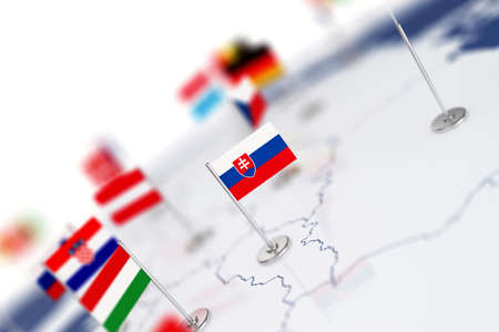 Slovakia flag in the focus. Europe map with countries flags. Shallow depth of field 3d illustration rendering isolated on white background Stock Photo