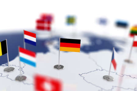 depth: Germany flag in the focus. Europe map with countries flags. Shallow depth of field 3d illustration rendering isolated on white background