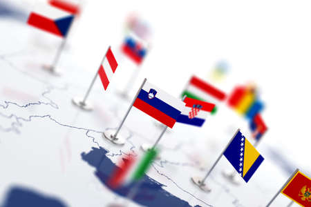 shallow: Slovenia flag in the focus. Europe map with countries flags. Shallow depth of field 3d illustration rendering isolated on white background Stock Photo