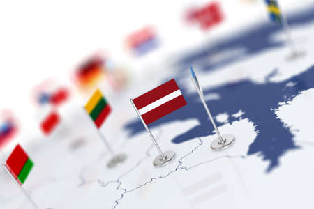 Latvia flag in the focus. Europe map with countries flags. Shallow depth of field 3d illustration rendering isolated on white background