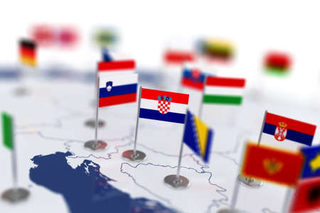 depth: Croatia flag in the focus. Europe map with countries flags. Shallow depth of field 3d illustration rendering isolated on white background
