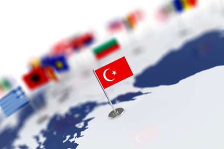 Turkey flag in the focus. Europe map with countries flags. Shallow depth of field 3d illustration rendering isolated on white background Stock Photo