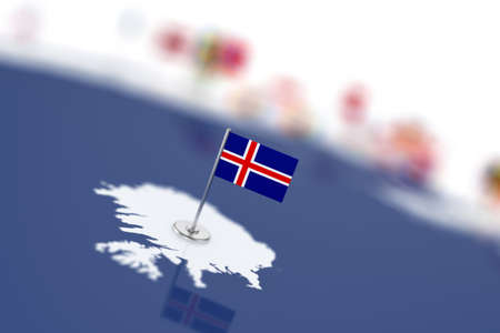 shallow: Iceland flag in the focus. Europe map with countries flags. Shallow depth of field 3d illustration rendering isolated on white background