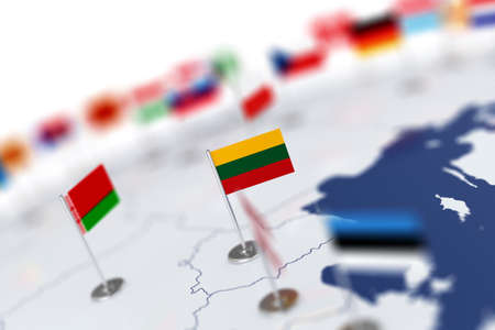 depth: Lithuania flag in the focus. Europe map with countries flags. Shallow depth of field 3d illustration rendering isolated on white background Stock Photo