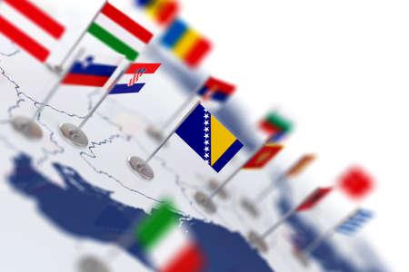 banderas del mundo: Bandera de Bosnia en el foco. Mapa de Europa con las banderas de los países. Profundidad de campo 3d representación de ilustración aislado en fondo blanco Foto de archivo
