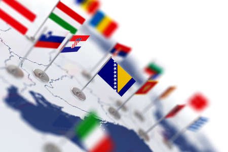 world flags: Bosnia flag in the focus. Europe map with countries flags. Shallow depth of field 3d illustration rendering isolated on white background