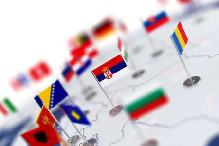Serbia flag in the focus. Europe map with countries flags. Shallow depth of field 3d illustration rendering isolated on white background