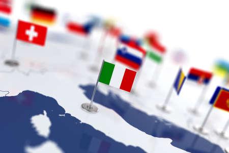 banderas del mundo: bandera de Italia en el foco. Mapa de Europa con banderas de países. Poca profundidad de campo 3d Ilustración de la representación aislada en el fondo blanco