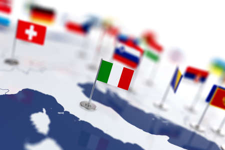 world flags: Italy flag in the focus. Europe map with countries flags. Shallow depth of field 3d illustration rendering isolated on white background