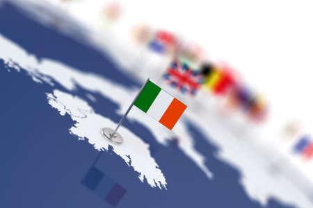 mapa conceptual: La bandera de Irlanda en el foco. Mapa de Europa con banderas de países. Poca profundidad de campo 3d Ilustración de la representación aislada en el fondo blanco