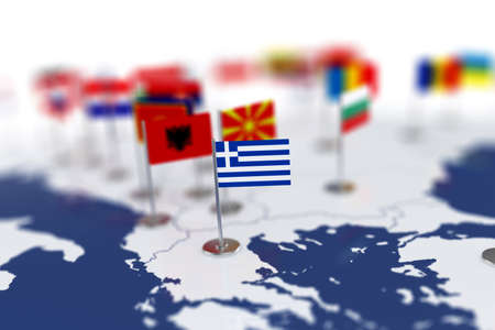 Greece flag in the focus. Europe map with countries flags. Shallow depth of field 3d illustration rendering isolated on white background