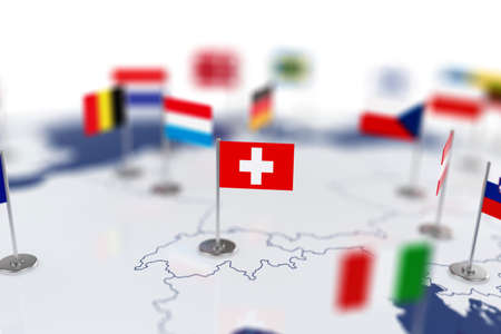 shallow: Swiss flag in the focus. Europe map with countries flags. Shallow depth of field 3d illustration rendering isolated on white background Stock Photo