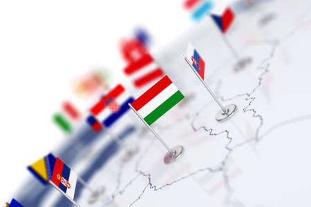 Hungary flag in the focus. Europe map with countries flags. Shallow depth of field 3d illustration rendering isolated on white background