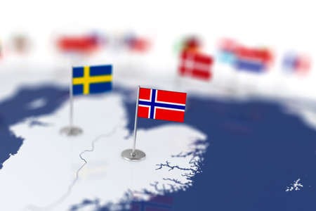 depth: Norway flag in the focus. Europe map with countries flags. Shallow depth of field 3d illustration rendering isolated on white background