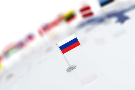 shallow: Russia flag in the focus. Europe map with countries flags. Shallow depth of field 3d illustration rendering isolated on white background Stock Photo