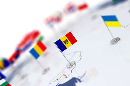 depth: Moldova flag in the focus. Europe map with countries flags. Shallow depth of field 3d illustration rendering isolated on white background Stock Photo