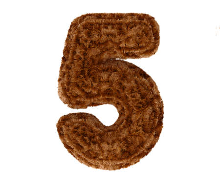 animal fur: Wild animal brown bushy bear decorative fur alphabet golden digit five symbol - 5. 3d rendering illustration. Isolated on white background