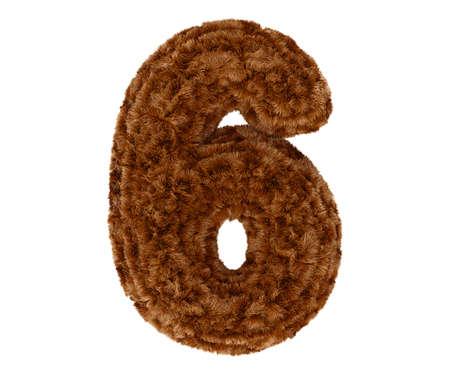 pelage: Wild animal brown bushy bear decorative fur alphabet golden digit six symbol - 6. 3d rendering illustration. Isolated on white background