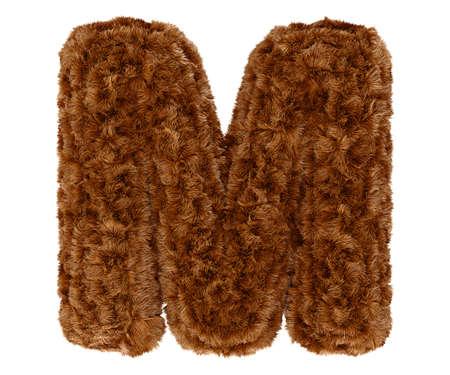 animal fur: Wild animal brown bushy bear decorative fur alphabet capital letter M. 3d rendering illustration. Isolated on white background