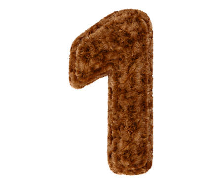 bushy: Wild animal brown bushy bear decorative fur alphabet golden digit one symbol - 1. 3d rendering illustration. Isolated on white background