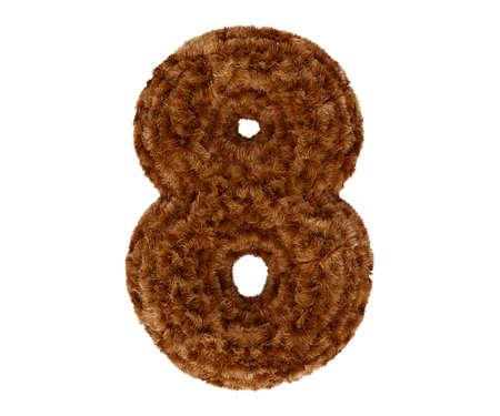 pelage: Wild animal brown bushy bear decorative fur alphabet golden digit eight symbol - 8. 3d rendering illustration. Isolated on white background
