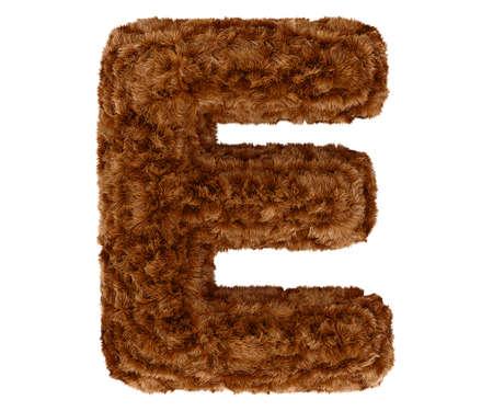 pelage: Wild animal brown bushy bear decorative fur alphabet capital letter E. 3d rendering illustration. Isolated on white background