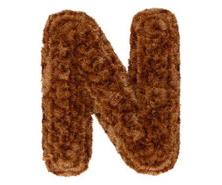 bushy: Wild animal brown bushy bear decorative fur alphabet capital letter N. 3d rendering illustration. Isolated on white background