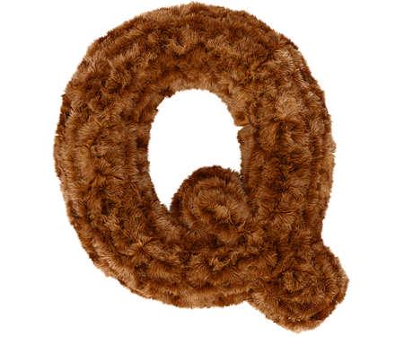 bushy: Wild animal brown bushy bear decorative fur alphabet capital letter Q. 3d rendering illustration. Isolated on white background Stock Photo