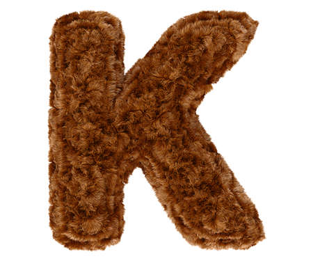 Wild animal brown bushy bear decorative fur alphabet capital letter K. 3d rendering illustration. Isolated on white background
