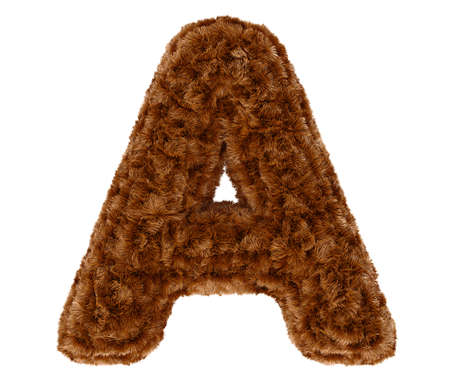 animal fur: Wild animal brown bushy bear decorative fur alphabet capital letter A. 3d rendering illustration. Isolated on white background