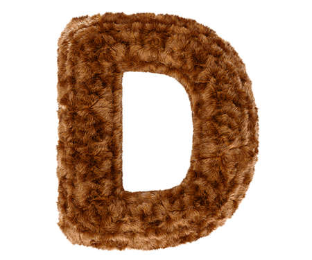 bushy: Wild animal brown bushy bear decorative fur alphabet capital letter D. 3d rendering illustration. Isolated on white background Stock Photo